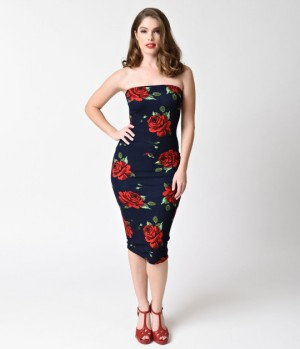 1950s_Style_Navy_Blue_Red_Rose_Strapless_Knit_Wiggle_Dress_13[1]