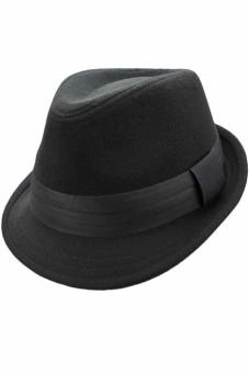 Black-Wool-Felt-Fedora-Hat-Trimmed-With-Grosgrain-Band